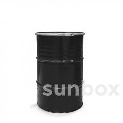 Fût métallique noir 200L cerclage avec levier