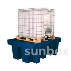Bac de rétention avec grille pour 1 conteneur 1000L